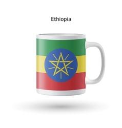 Ethiopia flag souvenir mug on white background vector