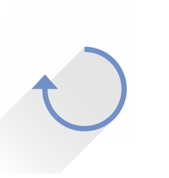 Flat blue arrow icon rotation sign on white vector