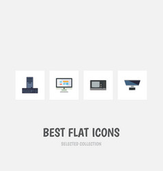 Flat icon laptop set of pc vintage hardware vector