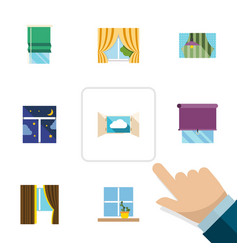 Flat icon window set of glass frame glass cloud vector