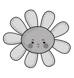 Grayscale flower angry kawaii with cheeks and eyes vector
