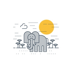 Grey elephant outdoor simple cartoon vector image