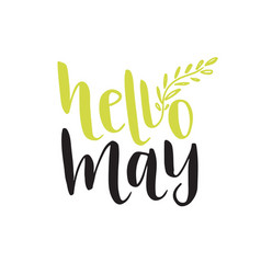 Hand lettering hello may social media blog icon vector