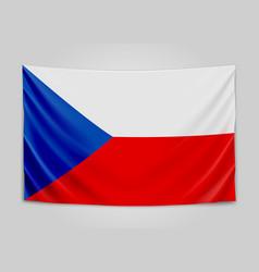 Hanging flag of czech czech republic national vector
