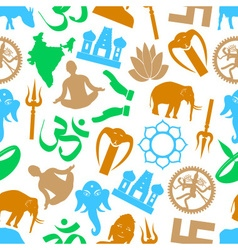 Hinduism religions symbols seamless color pattern vector