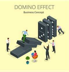 Isometric man start domino effect a and chain vector