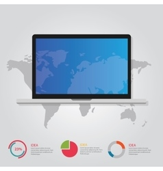 laptop notebook and world map info graphic vector image