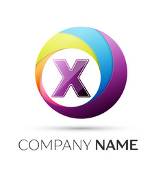 letter x logo symbol in the colorful circle on vector image vector image