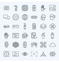 Line virtual reality icons set vector