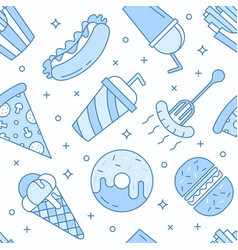 Linear flat fast food icons seamless pattern vector