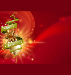 merry christmas red ribbon background vector image vector image