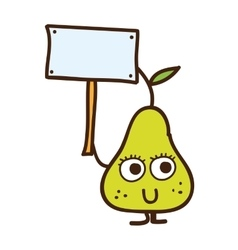 pear character with label isolated icon design vector image vector image