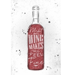 Poster meat and wine vector image vector image