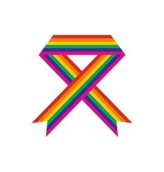 Rainbow ribbon flat icon vector image vector image