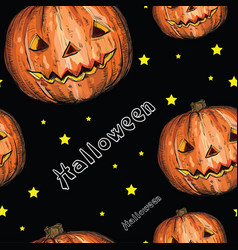 seamless pattern with halloween pumpkin vector image vector image