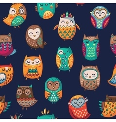 Seamless pattern with tribal owls vector image