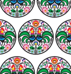 Seamless Polish floral pattern with roosters vector image