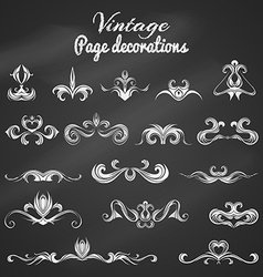 Set of chalk vintage page decorations and dividers vector