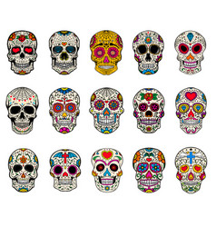 Set of sugar skulls dead day dia de los muertos vector