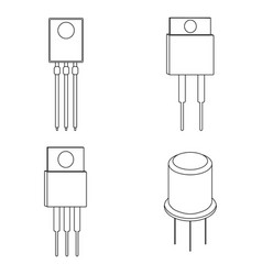 Set of transistor outline icon vector