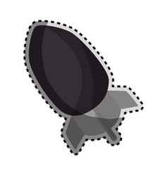 Sticker monochrome silhouette with rocket icon vector
