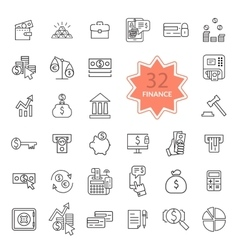 Thin Line Icons of Finance vector image vector image