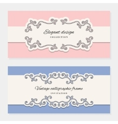 Vintage card templates for wedding invitations vector