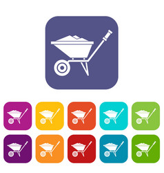 Wheelbarrow icons set vector