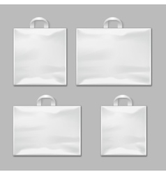 White empty reusable plastic shopping bags with vector