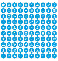 100 beard icons set blue vector