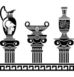 Set of hellenic vases and ionic columns stencils vector