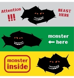Monster in the crack hole vector