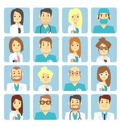 Doctor and nurse flat avatars vector