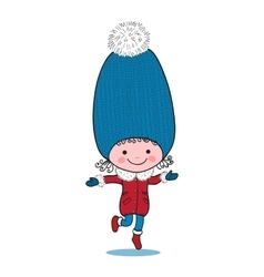 Little running girl in big winter knitted cap vector