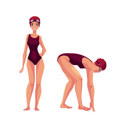 female swimmer in swimming suit cap standing and vector image
