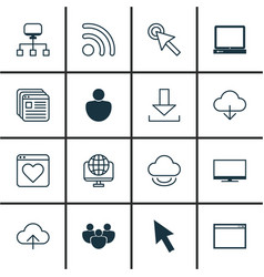 Set of 16 internet icons includes human wifi vector