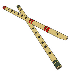 Two wooden flutes vector