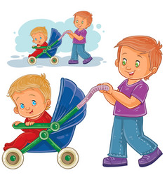 clip art older brother wheeled vector image