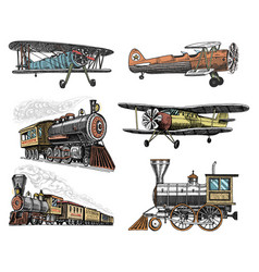 set of passenger train and airplanes corncob or vector image