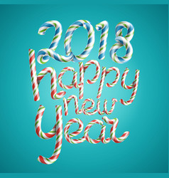 2018 happy new year 3d sign in christmas vector image vector image