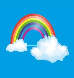 Rainbow and clouds in the blue sky vector