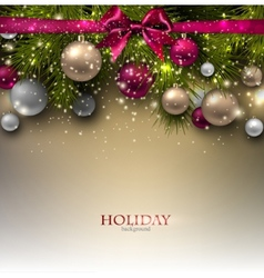 Christmas background with balls and fir twig vector image