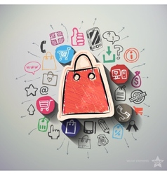 Shopping collage with icons background vector image