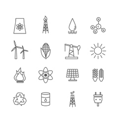 Energy icons in art line style vector