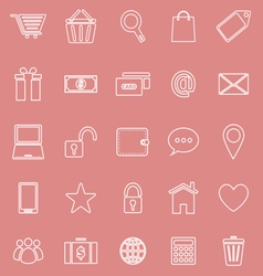 Ecommerce line icons on red background vector