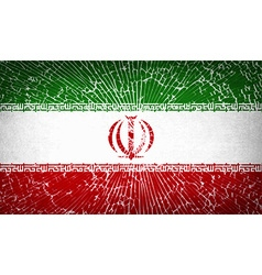 Flags iran with broken glass texture vector