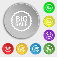 Big sale icon sign symbol on eight flat buttons vector