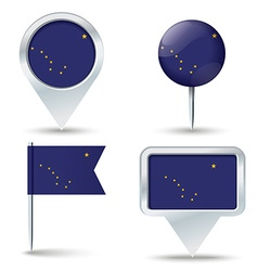 Map pins with flag of alaska vector