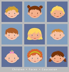 set cute faces caucasian children flat style vector image