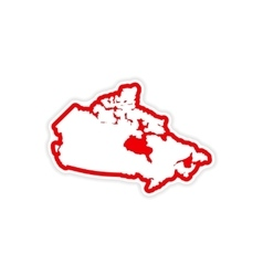 Paper sticker canadian map on white background vector